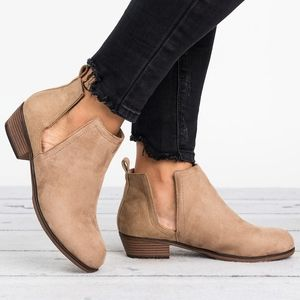 Taupe Cut Out Boots - Zoey13